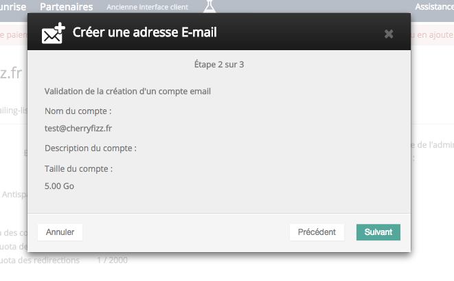 créer une adresse email