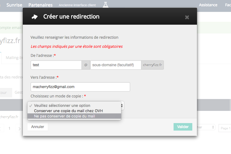 créer une redirection mail